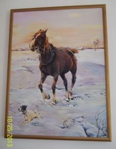 Pejzaż zimowy z koniem wg A. Wierusza-Kowalskiego
